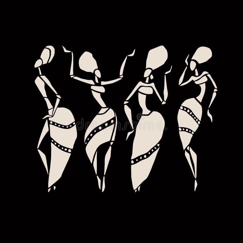 Afrikaanse silhouetreeks royalty-vrije illustratie