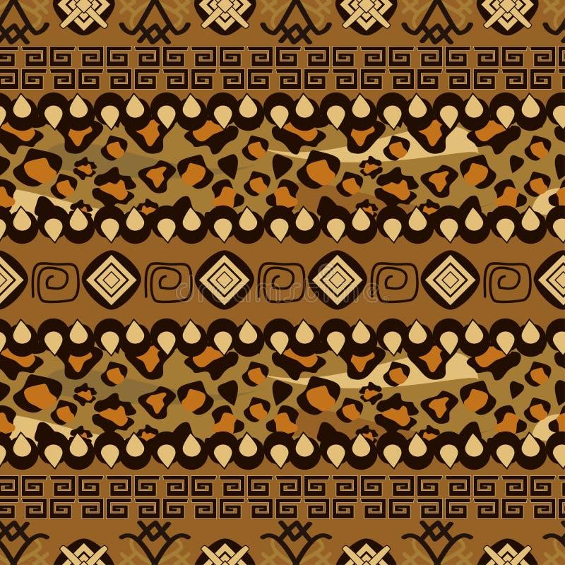 Afrikaanse stijl naadloos met het patroon van de jachtluipaardhuid royalty-vrije illustratie