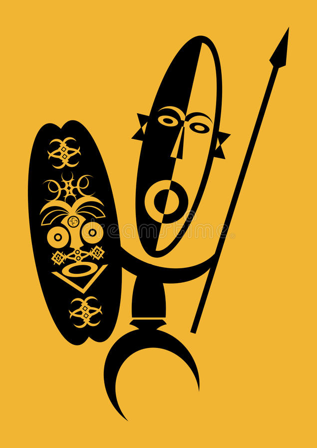 Afrikaanse Strijder royalty-vrije illustratie