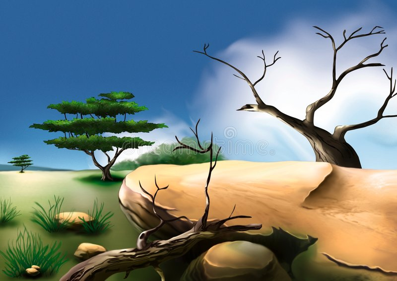 Afrikaanse struik royalty-vrije illustratie
