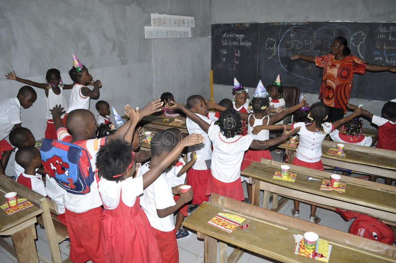 AFRIKAANSE STUDENTEN IN KLASSE stock afbeelding