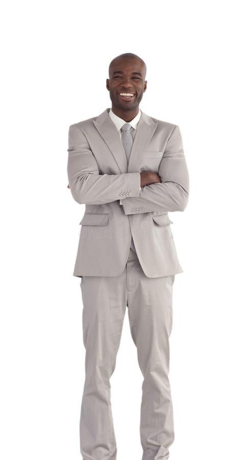 Afrikaanse Van Bedrijfs Amerika Geïsoleerde mens stock foto's