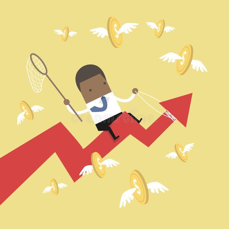 Afrikaanse van de de pijlgrafiek van het zakenman berijdende succes de vangst vliegende muntstukken vector illustratie