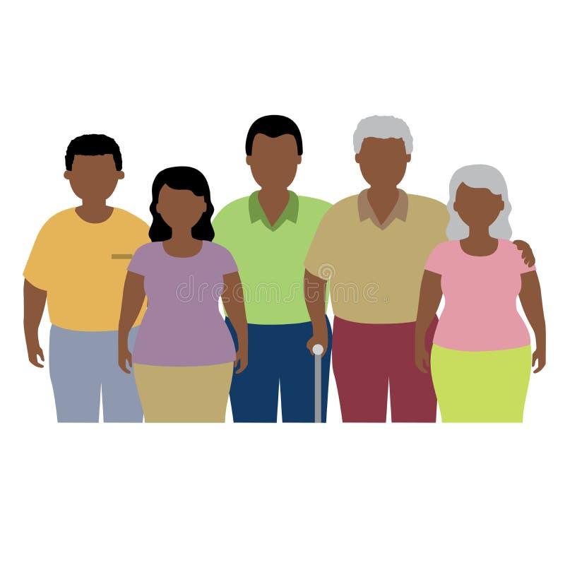 Afrikaanse vette familie stock illustratie
