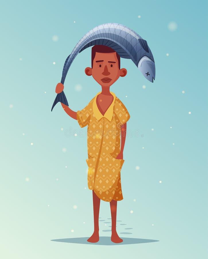 Afrikaanse visser met vissen De vectorillustratie van het beeldverhaal vector illustratie