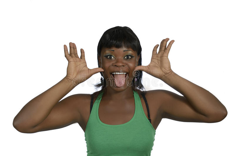 Afrikaanse vrouw die rond knoeien stock afbeeldingen