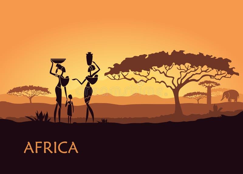 Afrikaanse vrouw op zonsondergangachtergrond vector illustratie