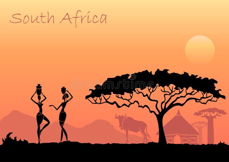 Afrikaanse vrouwen tegen de Afrikaanse zonsondergang Het kan voor prestaties van het ontwerpwerk noodzakelijk zijn royalty-vrije illustratie