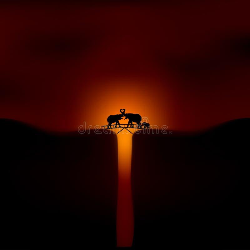 Afrikaanse zonsondergang met olifanten royalty-vrije illustratie