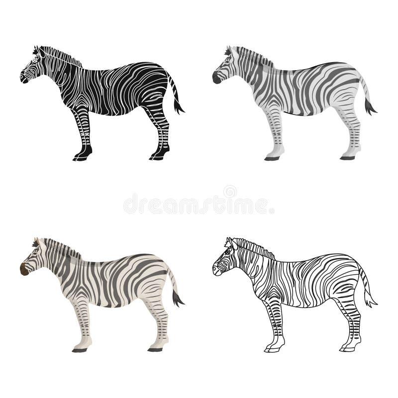Afrikan ökensebra Löst klyva-traskat djur, enkel symbol för sebra i illustration för materiel för symbol för tecknad filmstilvekt royaltyfri illustrationer
