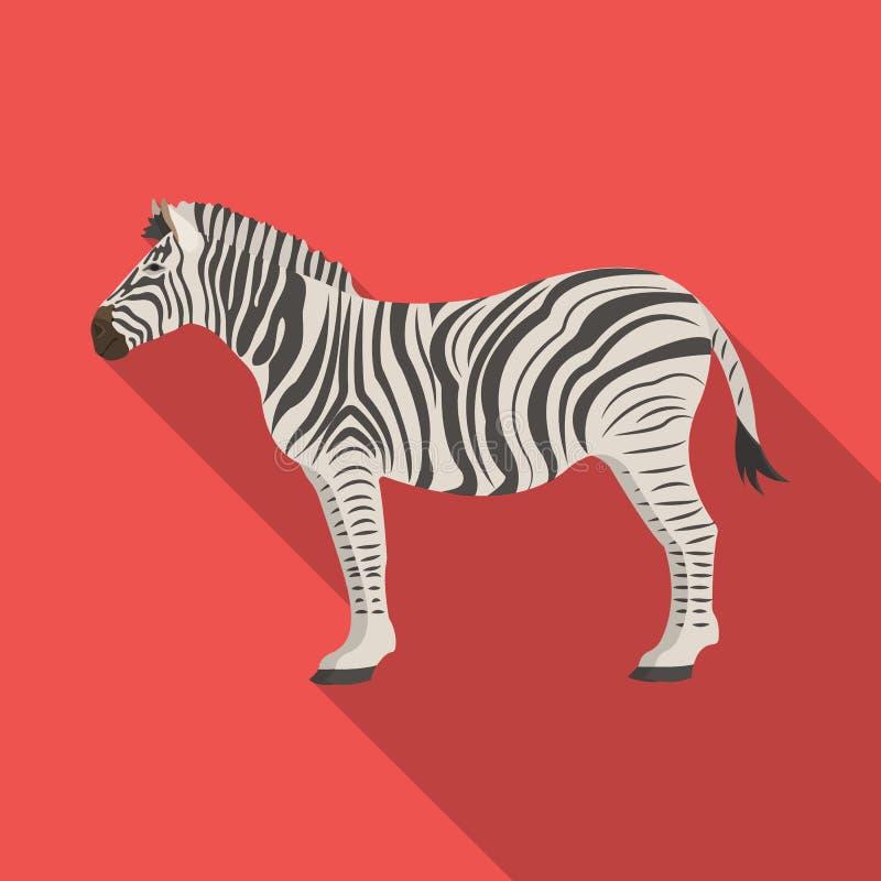 Afrikan ökensebra Löst klyva-traskat djur, enkel symbol för sebra i plan rengöringsduk för illustration för materiel för stilvekt stock illustrationer