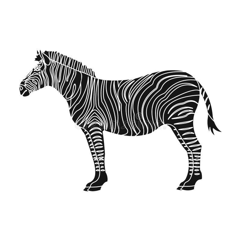 Afrikan ökensebra Löst klyva-traskat djur, enkel symbol för sebra i svart rengöringsduk för illustration för materiel för stilvek stock illustrationer