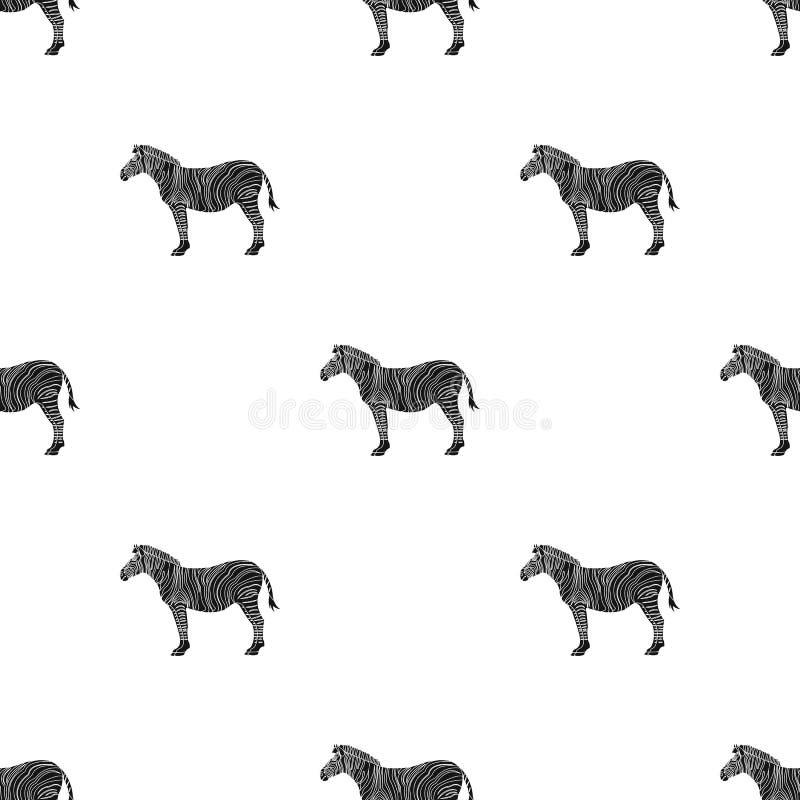 Afrikan ökensebra Löst klyva-traskat djur, enkel symbol för sebra i svart rengöringsduk för illustration för materiel för stilvek royaltyfri illustrationer