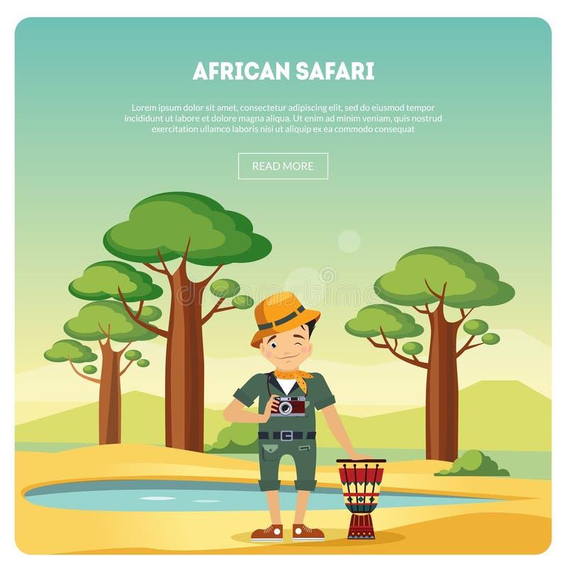Afrikan Safari Banner, manligt turist- anseende i bakgrund av Savannah Landscape Vector Illustration stock illustrationer