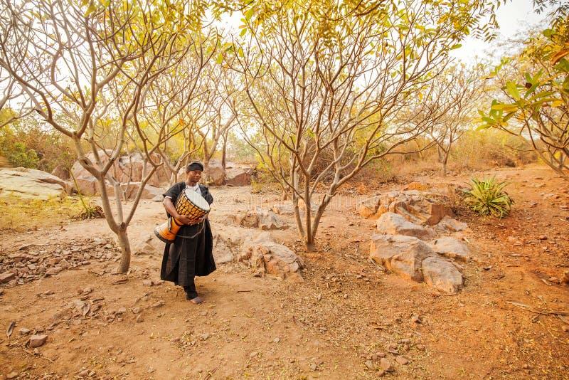Afrikan som bär en vals i en skog arkivbilder
