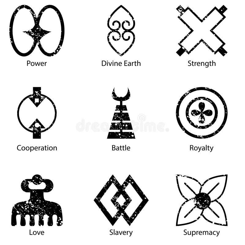 Afrikaner Adinkra-Symbol-Ikonen-Satz stock abbildung