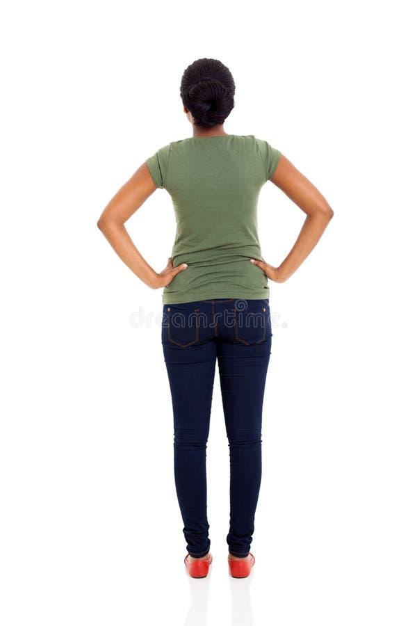 Afrikanerfrau der hinteren Ansicht stockfotos