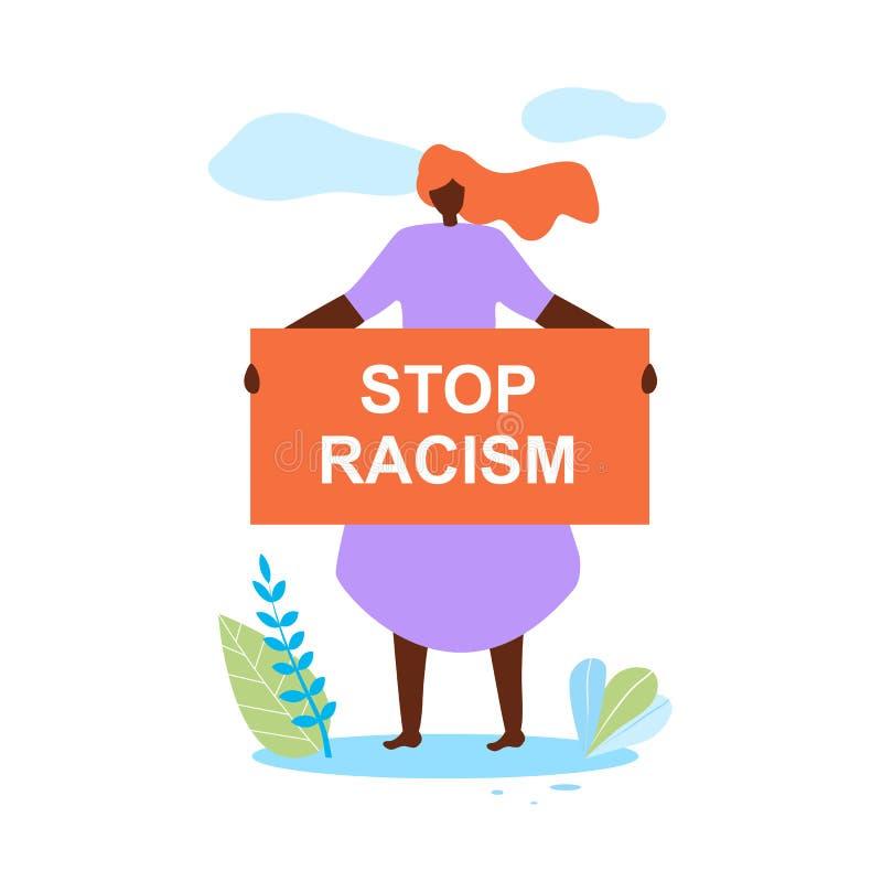 Afrikanerin-Griff-Fahne in den Händen stoppen Rassismus vektor abbildung