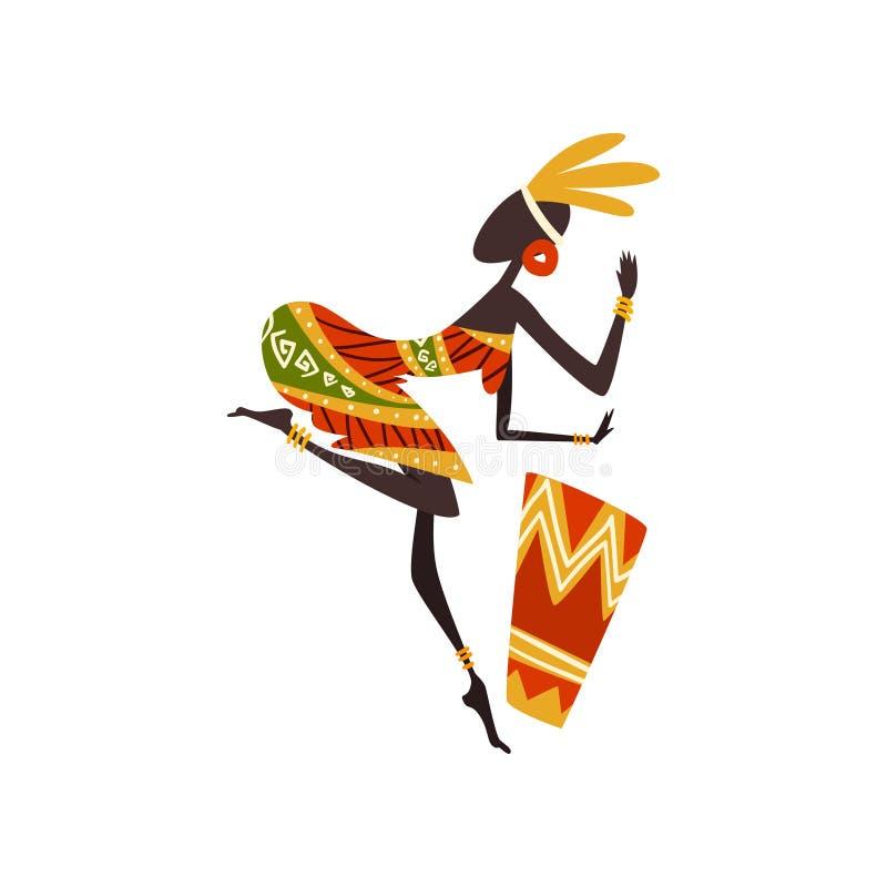 Afrikanerin-Tanzen und spielen Trommel, weiblicher eingeborener Tänzer in der traditionellen ethnischen Kleidungs-Vektor-Illustra stock abbildung