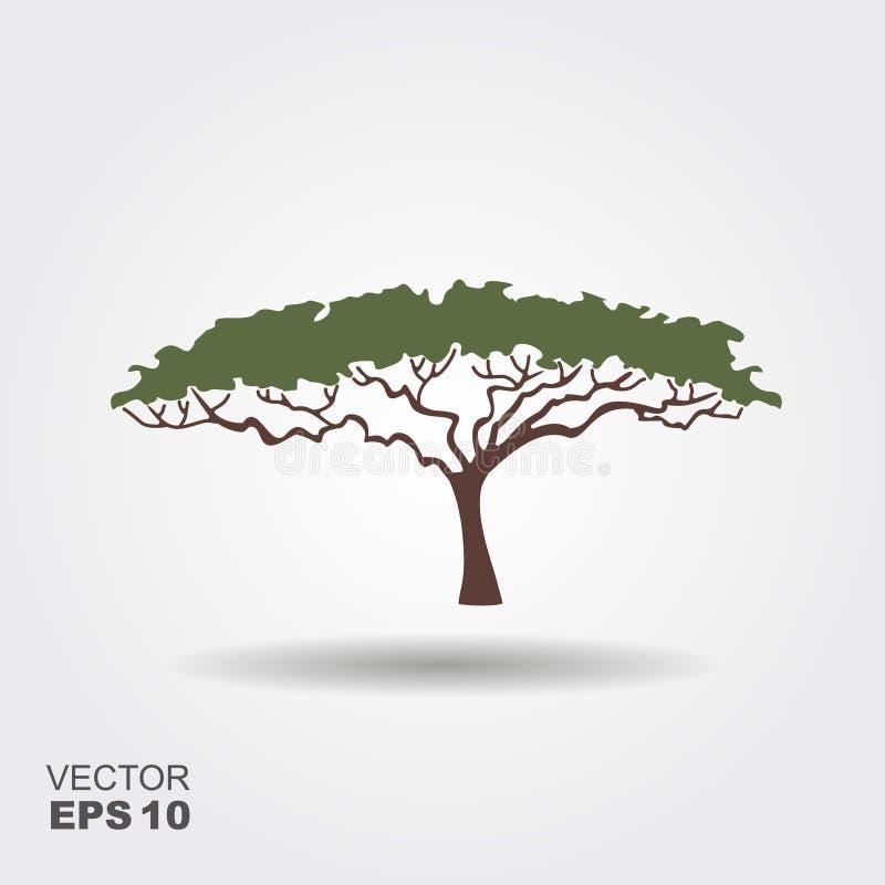 Afrikanische Baumikone, Akazienbaumschattenbild  lizenzfreie abbildung
