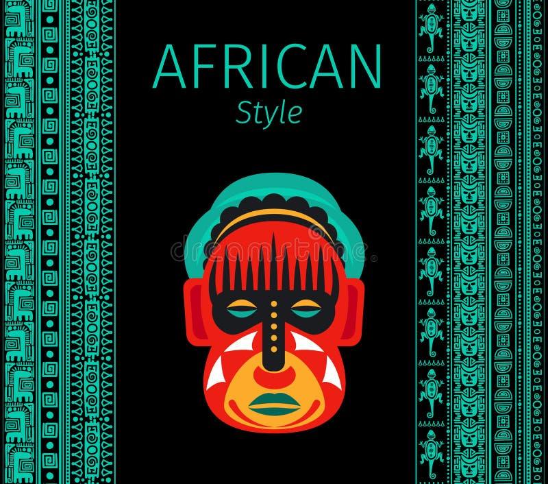 Afrikanische blaue Grenzen und Maske lizenzfreie abbildung
