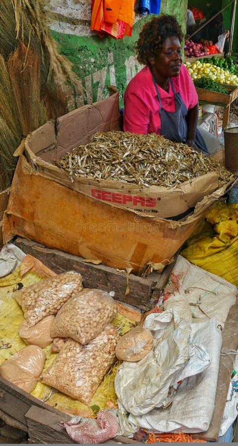 Afrikanische Dame, die trockene Fische verkauft stockfoto