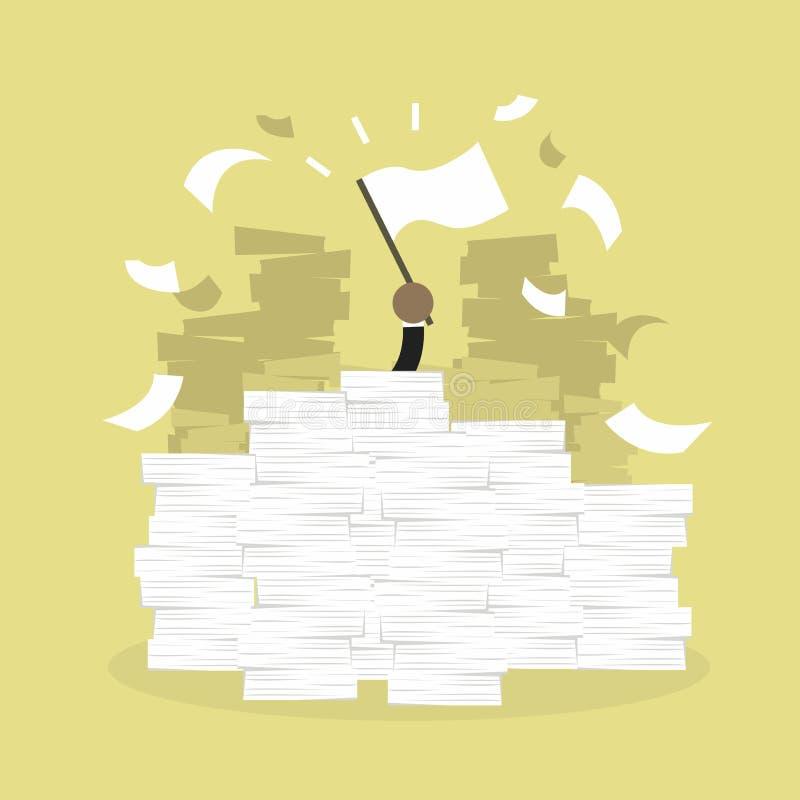 Afrikanische Geschäftsmannhand mit weißer Flagge Schreibtisch lud von der Schreibarbeit, von den Rechnungen und von vielen Papier lizenzfreie abbildung