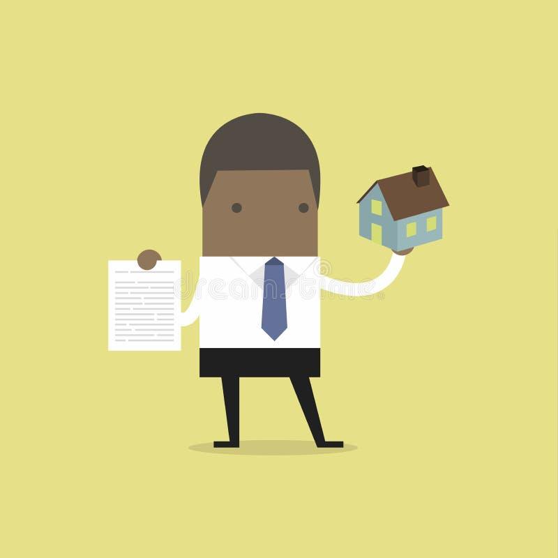 Afrikanische Geschäftsmannimmobilienagentur, die Haus und Vertrag hält vektor abbildung