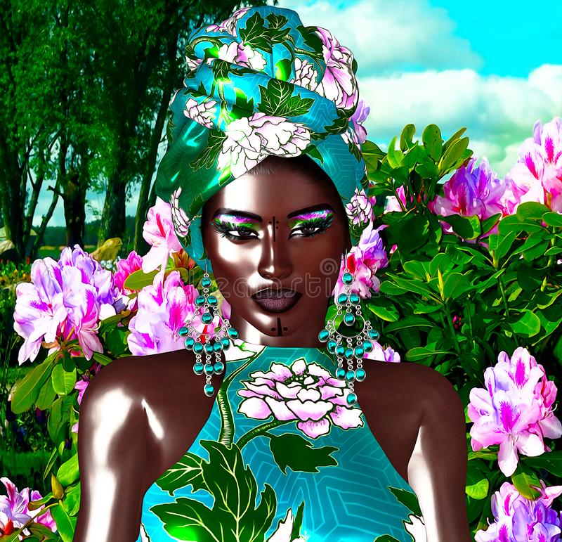 Afrikanische Königin, Mode-Schönheit lizenzfreie abbildung