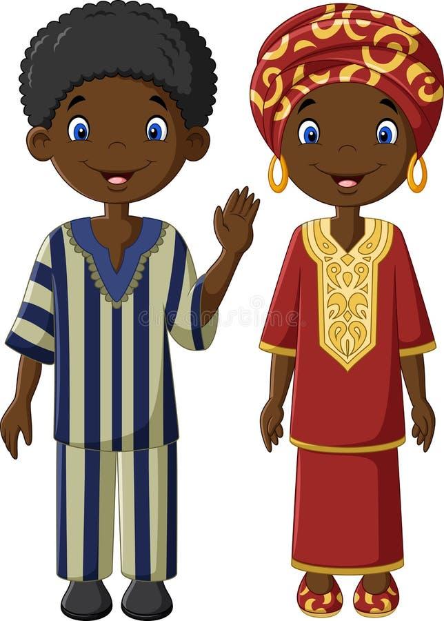 Afrikanische Kinder mit traditionellem Kostüm lizenzfreie abbildung