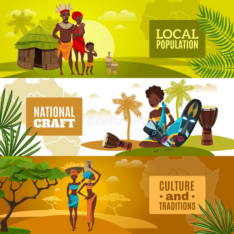 Afrikanische Kultur-flache horizontale Fahnen eingestellt lizenzfreie abbildung