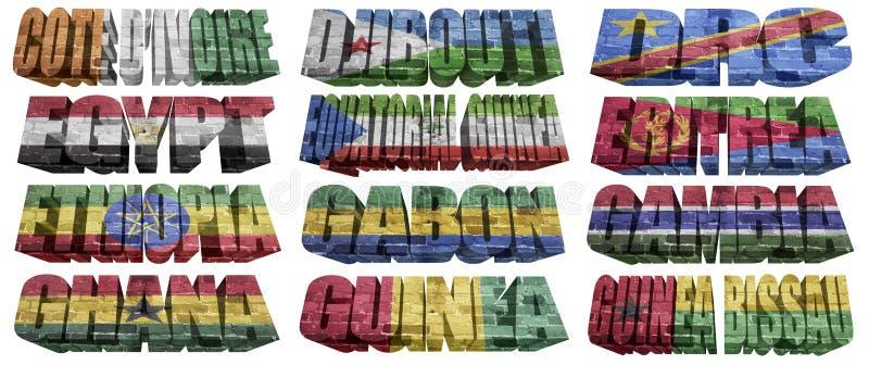Afrikanische Länder (von C zu G) Flaggenwörter vektor abbildung