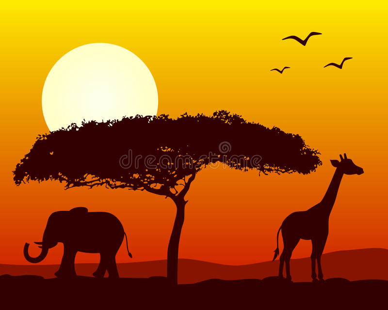 Afrikanische Landschaft am Sonnenuntergang stock abbildung