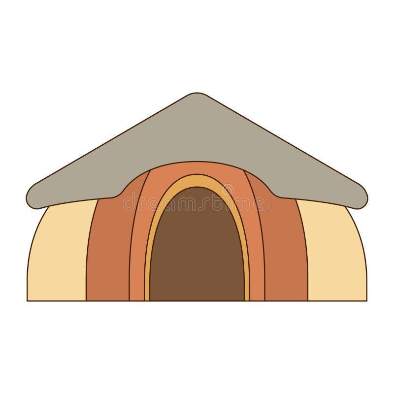 Afrikanische nationale Häuser und Wohnungen Hütten in einem afrikanischen Dorf Flache Linie Art Auch im corel abgehobenen Betrag stock abbildung