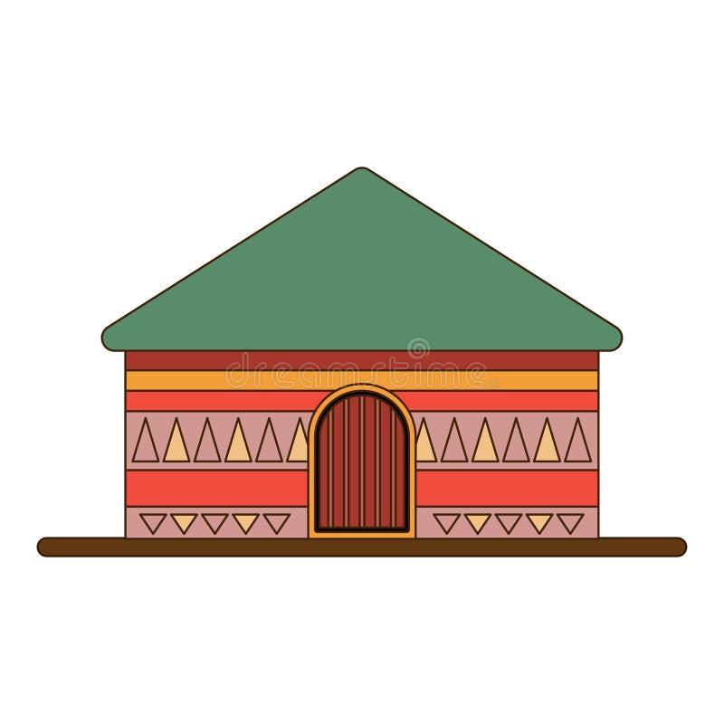 Afrikanische nationale Häuser und Wohnungen Hütten in einem afrikanischen Dorf Flache Linie Art Auch im corel abgehobenen Betrag lizenzfreie abbildung