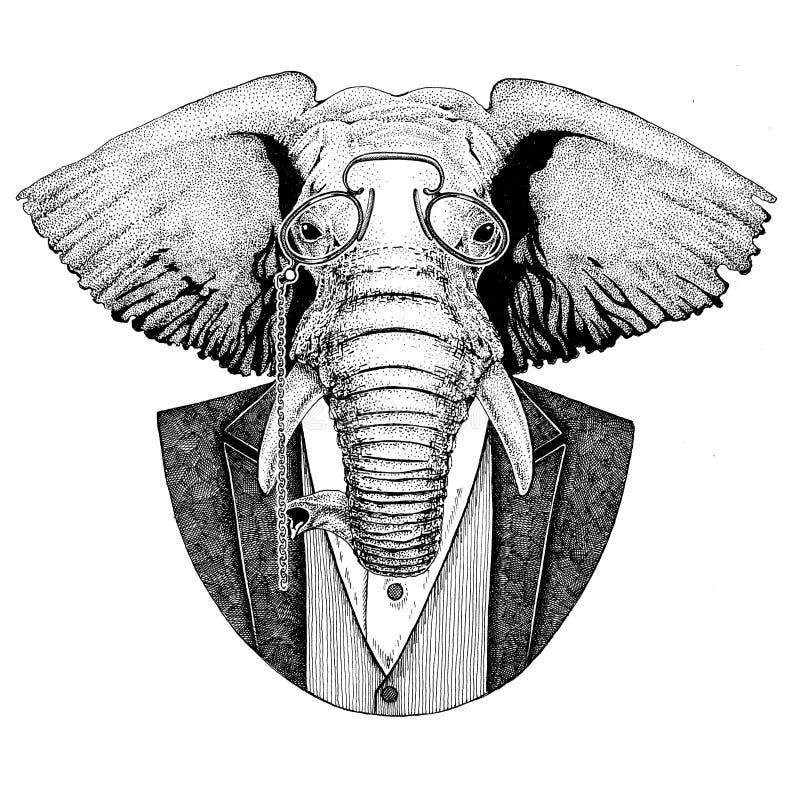 Afrikanische oder indische gezeichnetes Bild des Hippies Tierhand für Tätowierung, Emblem, Ausweis, Logo, Flecken, T-Shirt stock abbildung