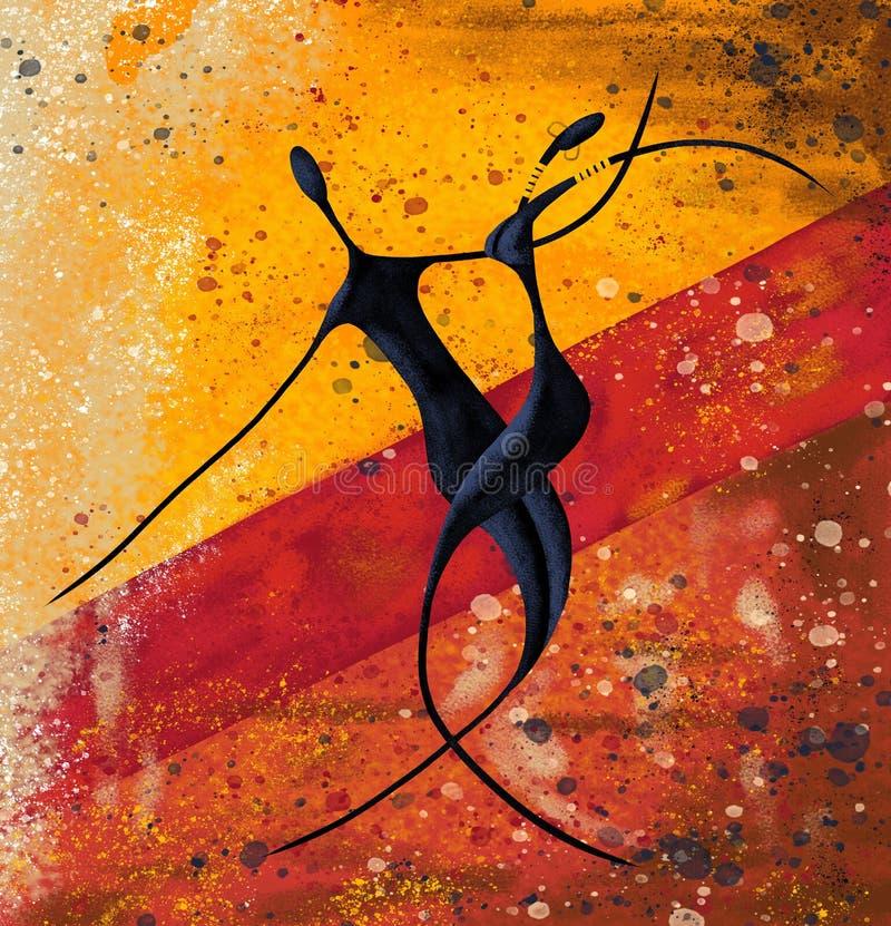 Afrikanische Paare tanzen auf die Malleinwandgrafik des Bodens digitale stock abbildung