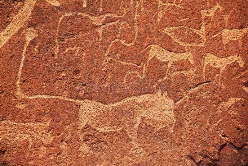 Afrikanische Petroglyphe stockbilder