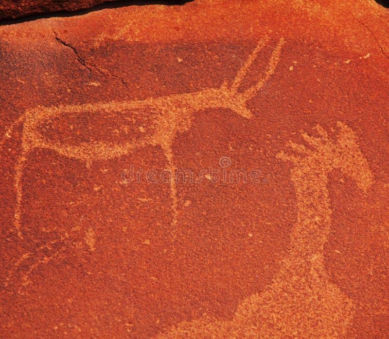 Afrikanische Petroglyphe stockfotos