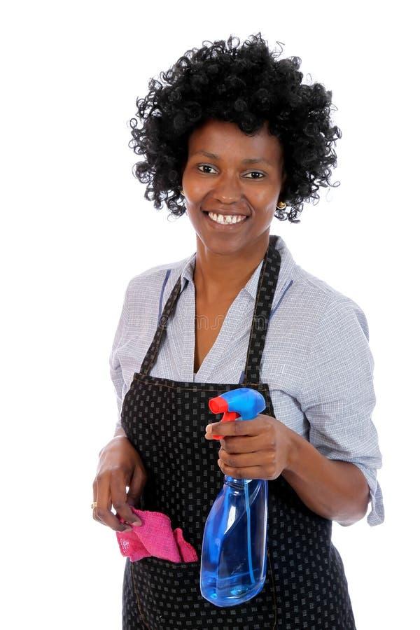 Afrikanische Reinigungs-Frau stockbilder