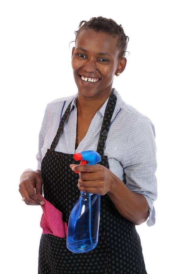 Afrikanische Reinigungs-Frau stockfotos