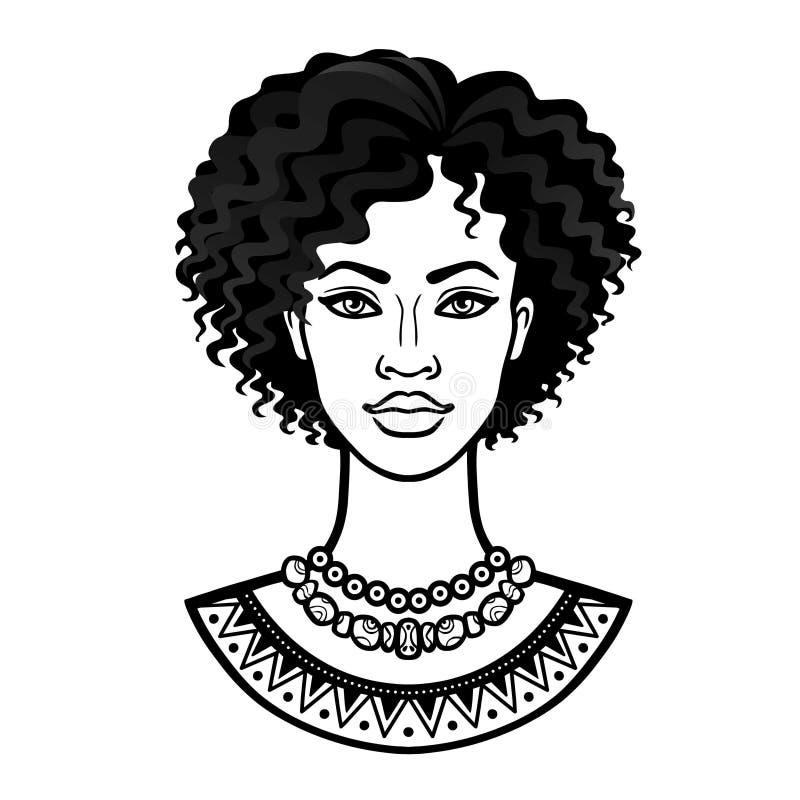 Afrikanische Sch?nheit: Animationsportr?t der sch?nen schwarzen Frau in einem gelockten Haar lizenzfreie abbildung