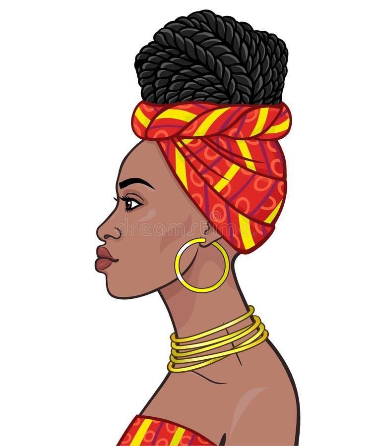 Afrikanische Sch?nheit: Animationsportr?t der sch?nen schwarzen Frau in einem Turban und in den Frisurc$afro-borten stock abbildung