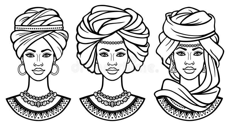 Afrikanische Sch?nheit: stellen Sie von den Animationsportr?ts die sch?nen schwarzen Frauen in den verschiedenen alten Turbanen e vektor abbildung