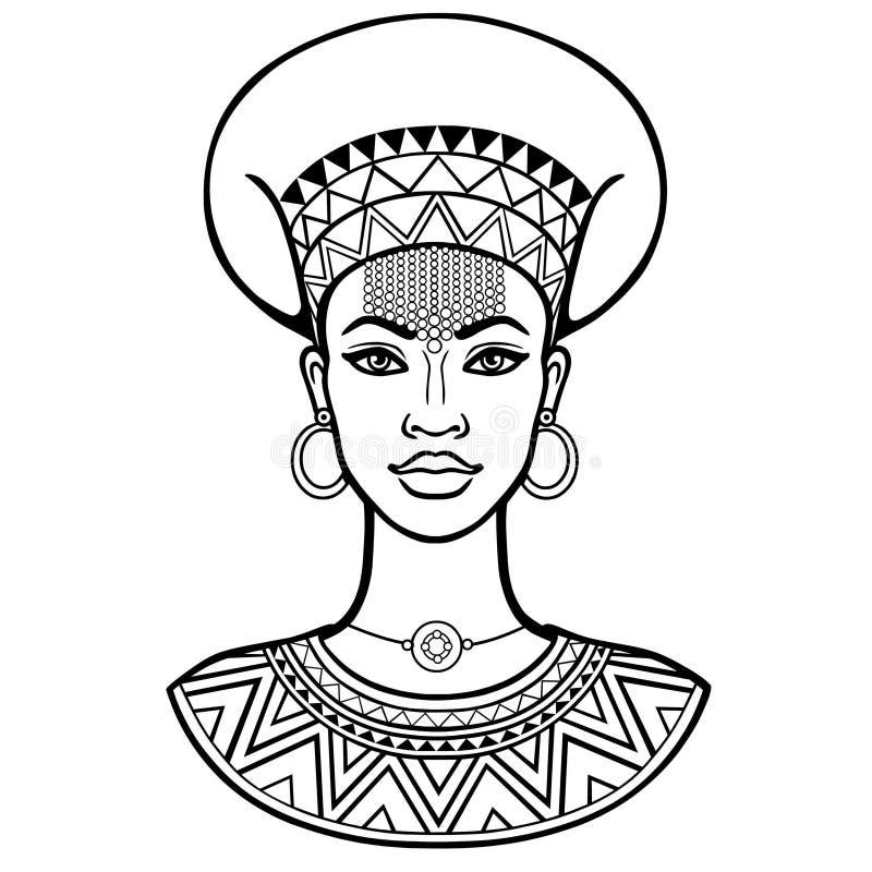 Afrikanische Sch?nheit: Animationsportr?t der sch?nen schwarzen Frau in der alten Kleidung und im Schmuck stock abbildung