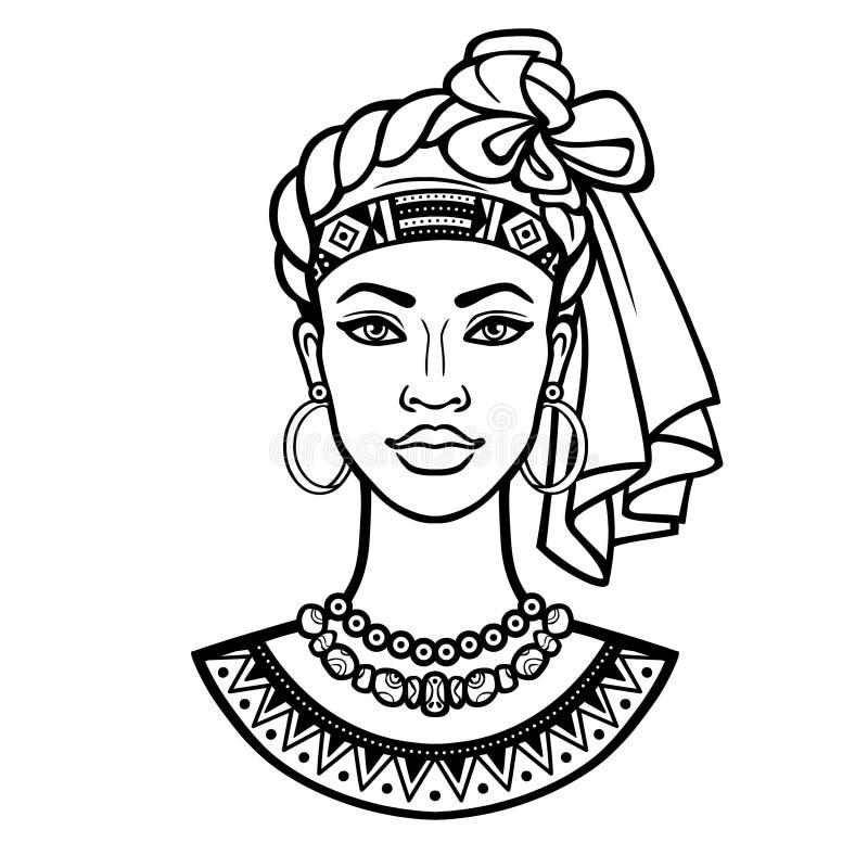 Afrikanische Sch?nheit: Animationsportr?t der sch?nen schwarzen Frau in einem Turban stock abbildung