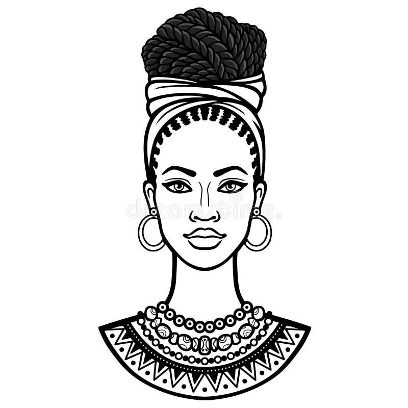 Afrikanische Sch?nheit: Animationsportr?t der sch?nen schwarzen Frau in einem Turban lizenzfreie abbildung