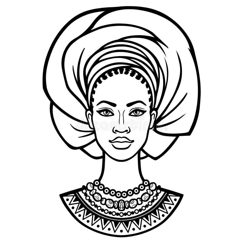 Afrikanische Sch?nheit: Animationsportr?t der sch?nen schwarzen Frau in einem Turban vektor abbildung
