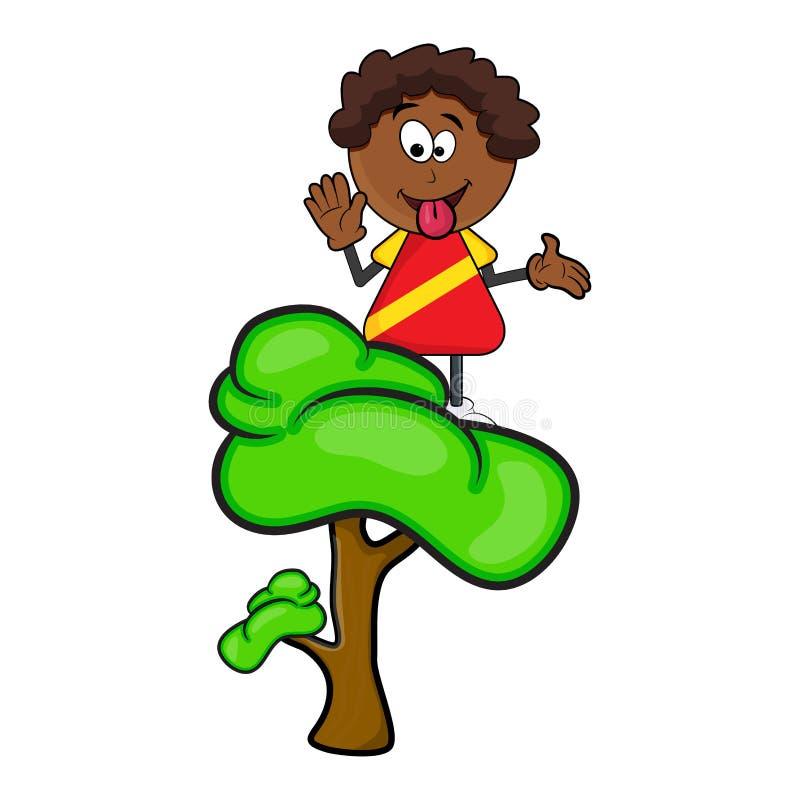 Afrikanische schwarze Jungenkarikatur, die Zunge auf dem Baum lokalisiert auf whi zeigt lizenzfreie abbildung