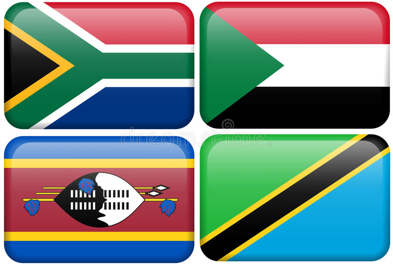 Afrikanische Tasten: S. Afrika, Sudan, Swazi, Tanzania lizenzfreie abbildung